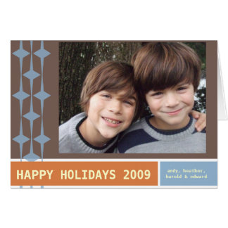 HAPPY HOLIDAYS 2009 brown/blue/orange Greeting Card