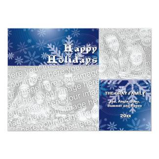 Happy Holidays Blue Snowflakes Holiday Photo Card