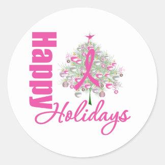 Happy Holidays Breast Cancer Pink Ribbon Sticker