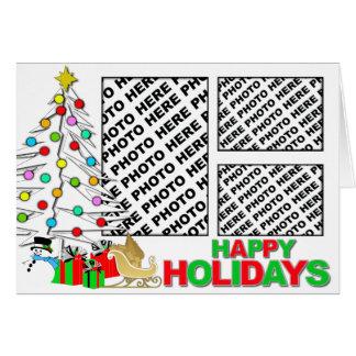 Happy Holidays Card Add 3 Photos White