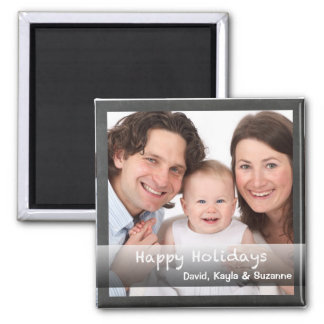Happy Holidays Chalkboard Personalised with Photo Magnet