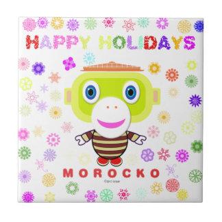Happy Holidays-Cute Monkey-Morocko Tile