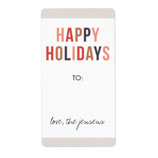 Happy Holidays Gift Label - Holiday Spice Shipping Label
