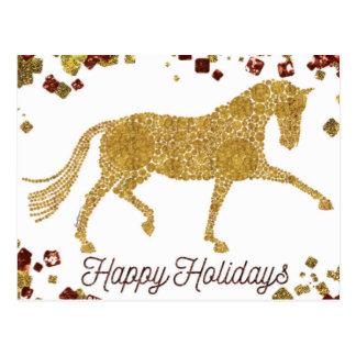 Happy Holidays Gold Dressage Horse Postcard