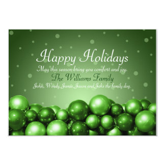 Happy Holidays Green Ornaments Flat Card 13 Cm X 18 Cm Invitation Card
