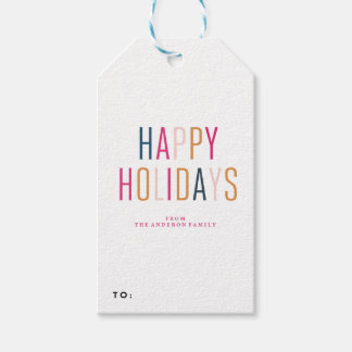 HAPPY HOLIDAYS holiday christmas Gift Tags