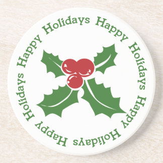 Happy Holidays Holly Berry Coaster
