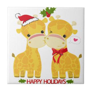 Happy Holidays Love Giraffes Tile
