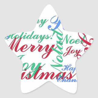 Happy Holidays, Merry Christmas, Peace, Happy Chan Star Sticker