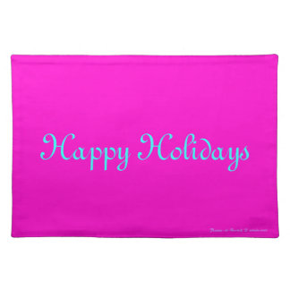 """""""Happy Holidays"""" Merry Xmas Pink Retro-Style Placemat"""