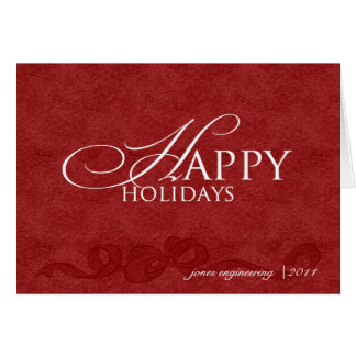 Happy Holidays on Red Leather Business Christmas Note Card
