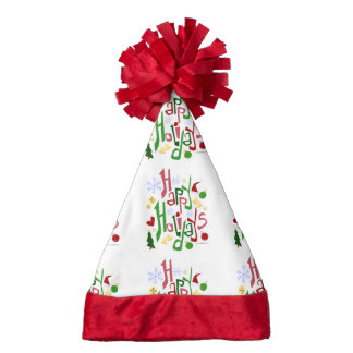 Happy Holidays Pattern Santa Hat