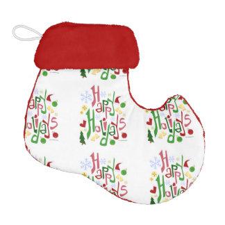 Happy Holidays Pattern Elf Christmas Stocking