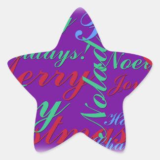 Happy Holidays Peace Joy Noel Merry Christmas Star Sticker