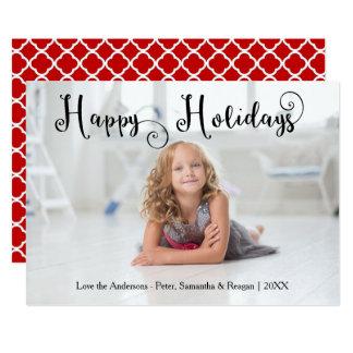 Happy Holidays Photo Swirly Font - Christmas Card