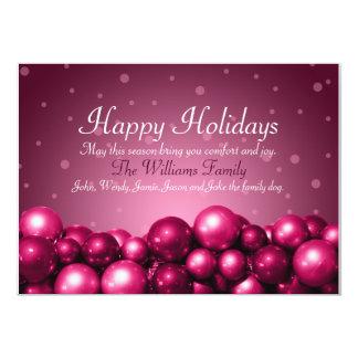 Happy Holidays Pink Ornaments Flat Card 13 Cm X 18 Cm Invitation Card