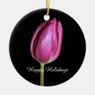 Happy Holidays Pink Tulips Flowers Floral Photos Christmas Ornament
