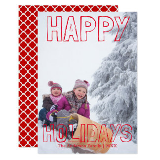 Happy Holidays Red Block - 3x5 Christmas Card