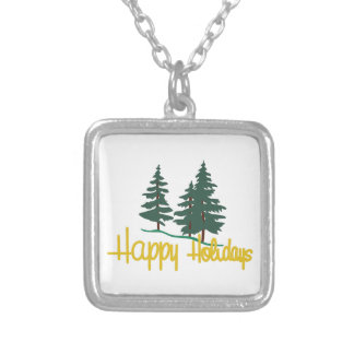 Happy Holidays Square Pendant Necklace