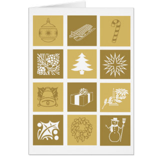 Happy Holidays Symbols Greeting Card Gold