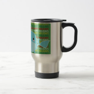 Happy Holidays Whale Stainless Steel Travel Mug
