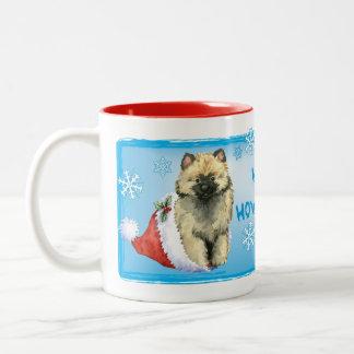Happy Howliday Keeshond Two-Tone Coffee Mug