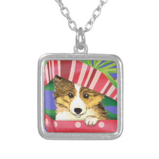 Happy Howliday Sheltie Silver Plated Necklace