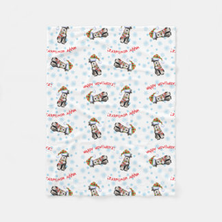 Happy Howlidays Miniature Schnauzer Fleece Blanket