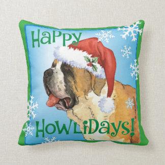 Happy Howlidays St. Bernard Cushion