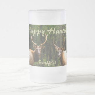 "Happy Hunting Elk Beer Stein ""your Name"" 16 Oz Frosted Glass Beer Mug"
