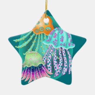 Happy Jellyfish Ceramic Star Decoration