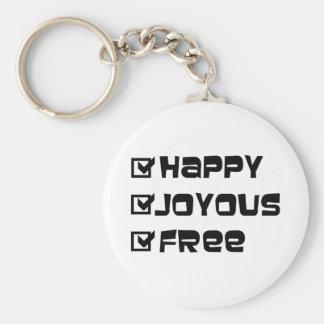Happy Joyous Free Basic Round Button Key Ring