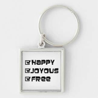 Happy Joyous Free Silver-Colored Square Key Ring