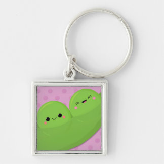 Happy Kawaii Peas on Spotted Background Key Chains
