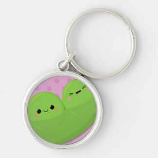 Happy Kawaii Peas on Spotted Background Silver-Colored Round Key Ring