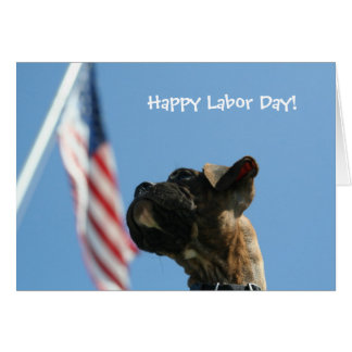 Happy Labour Day Boxer puppy greeting card
