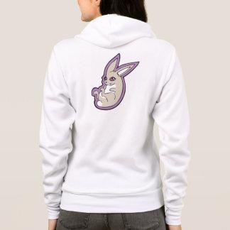 Happy Lavender Rabbit Pink Eyes Ink Drawing Design Hoodie