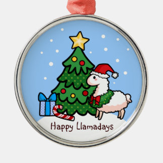 Happy Llamadays Silver-Colored Round Decoration