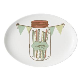 Happy mason jar and garland platter porcelain serving platter