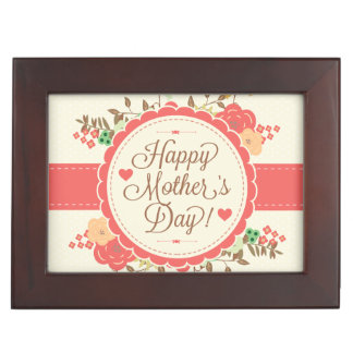 Happy Mother Day Text & Colorful Floral Design Keepsake Box