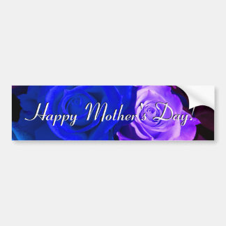 Happy Mother's Day Blue Purple Roses Car Bumper Sticker