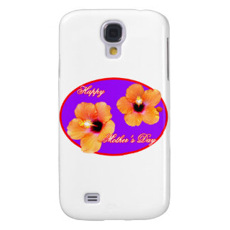 Happy Mother's Day Hibiscus Purple Red Oval The MU Samsung Galaxy S4 Case