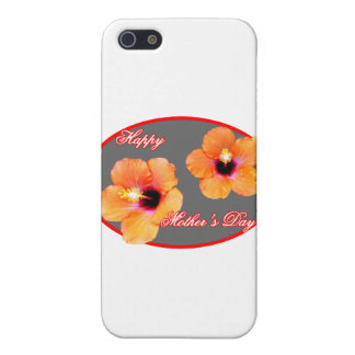 Happy Mother's Day Hibiscus Silver Red Oval The MU Covers For iPhone 5