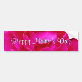 Happy Mother's Day Pink Rose Car Bumper Sticker
