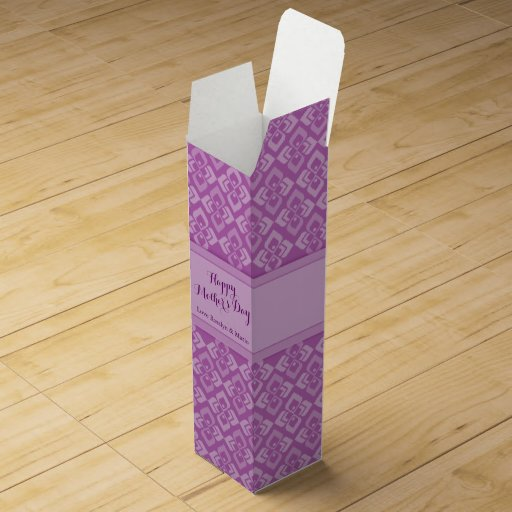 Happy Mother's day purple add your name wine box