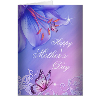 Happy Mother's Day Purple Pink Lilac Butterfly Note Card