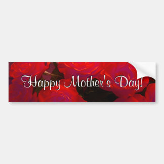 Happy Mother's Day Red Roses Car Bumper Sticker