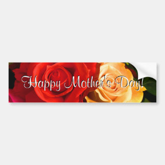 Happy Mother's Day Red Yellow Roses Car Bumper Sticker