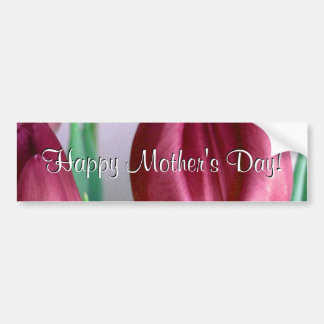 Happy Mother's Day Rosey Tulips Car Bumper Sticker