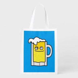 Happy Mug of Beer with Foam top Reusable Grocery Bag
